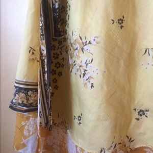 Skirts - Yellow Reversible Indian Wrap Skirt Floral Full